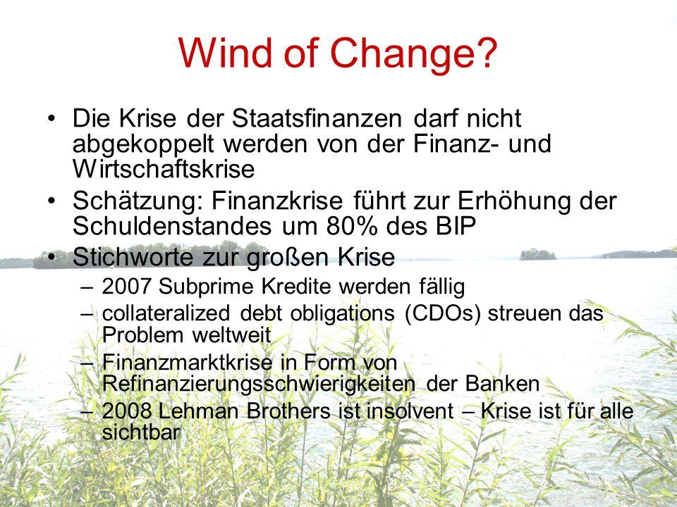 Wind of Change Die Krise der Staatsfinanzen darf nicht abgekoppelt werden von der Finanz- und Wirtschaftskrise.