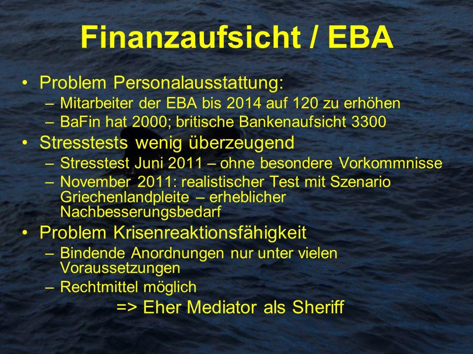 Finanzaufsicht / EBA Problem Personalausstattung: