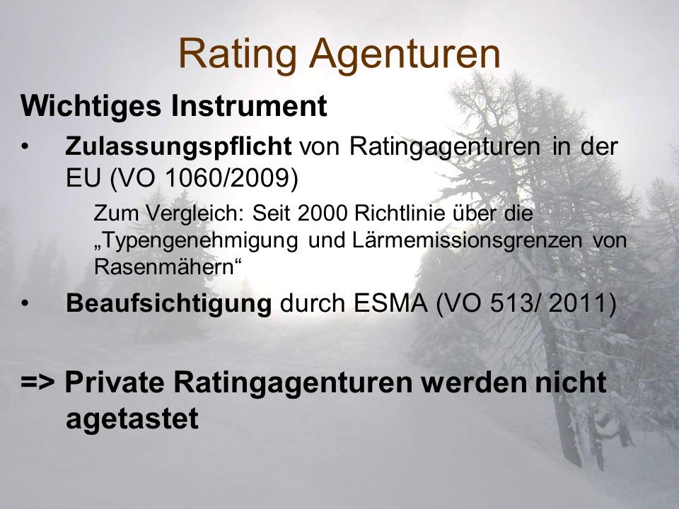 Rating Agenturen Wichtiges Instrument