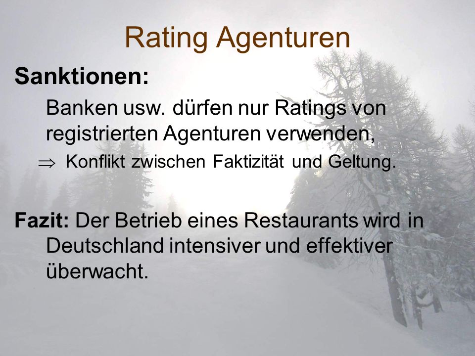 Rating Agenturen Sanktionen:
