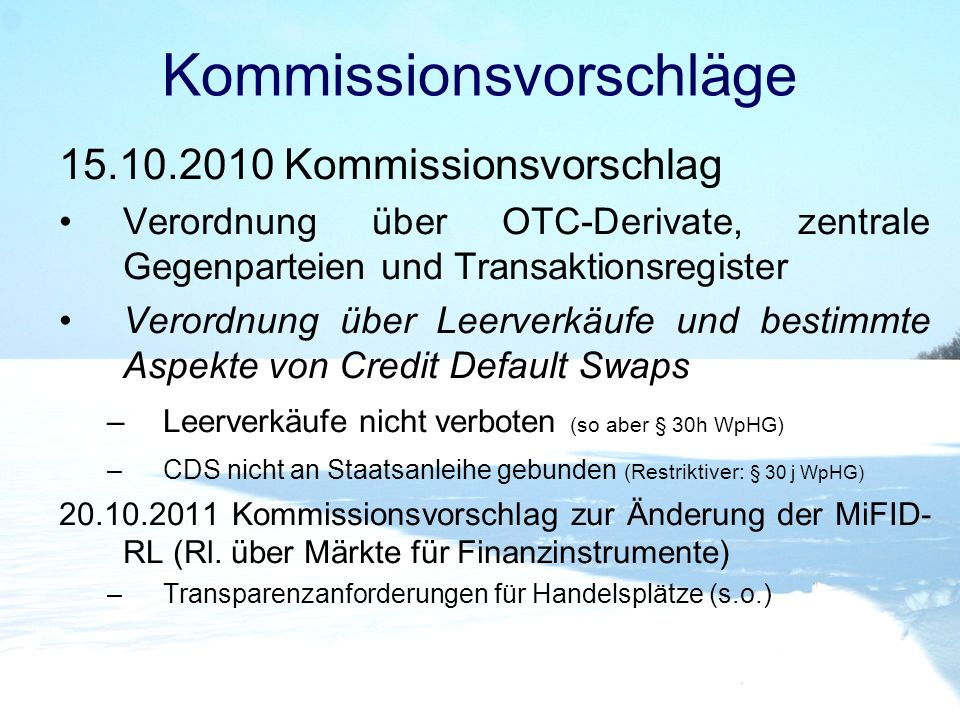 Kommissionsvorschläge