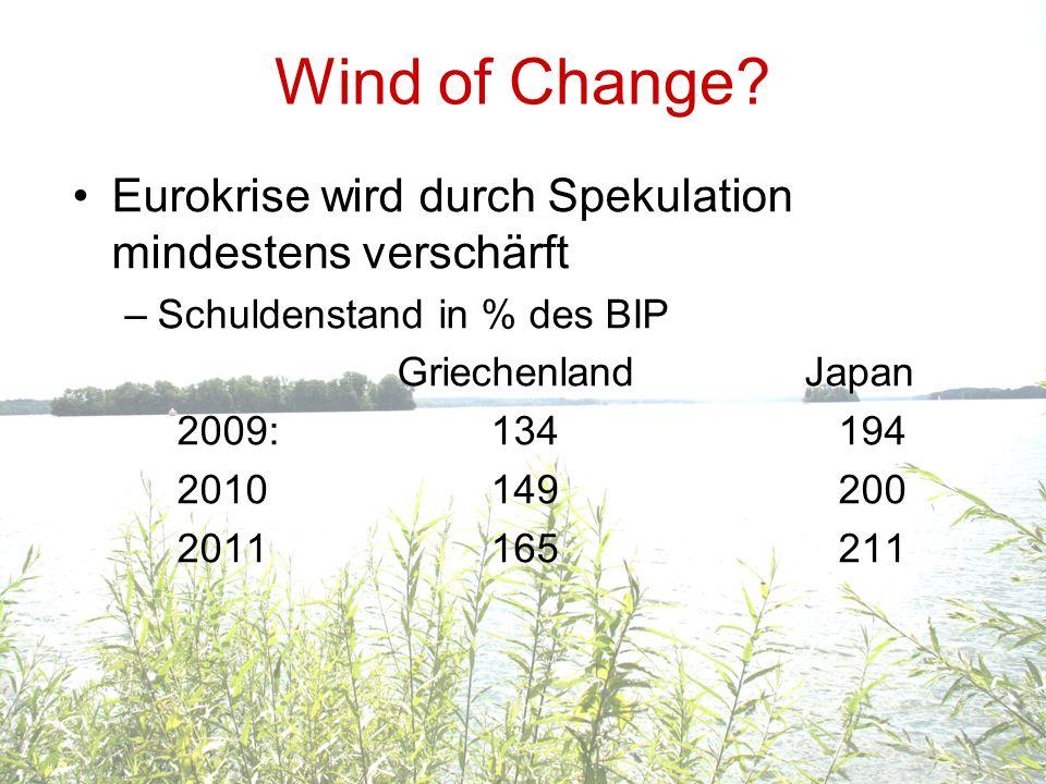 Wind of Change Eurokrise wird durch Spekulation mindestens verschärft
