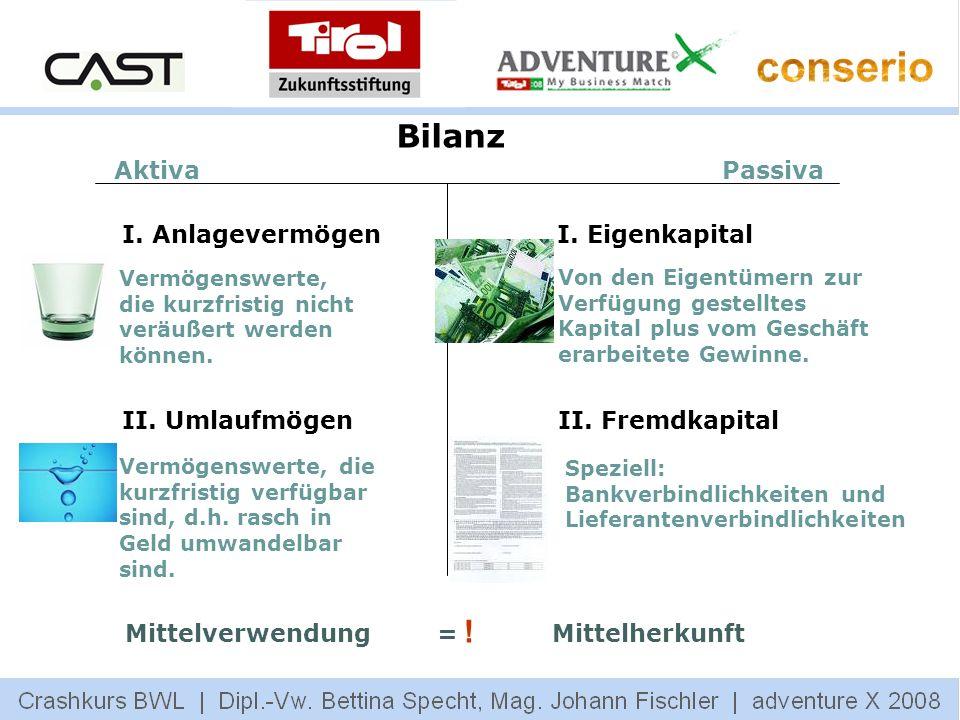Bilanz Aktiva Passiva I. Anlagevermögen I. Eigenkapital