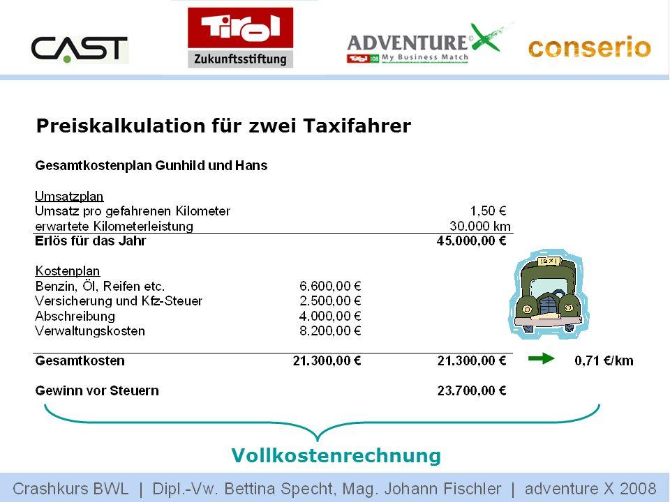 Preiskalkulation für zwei Taxifahrer