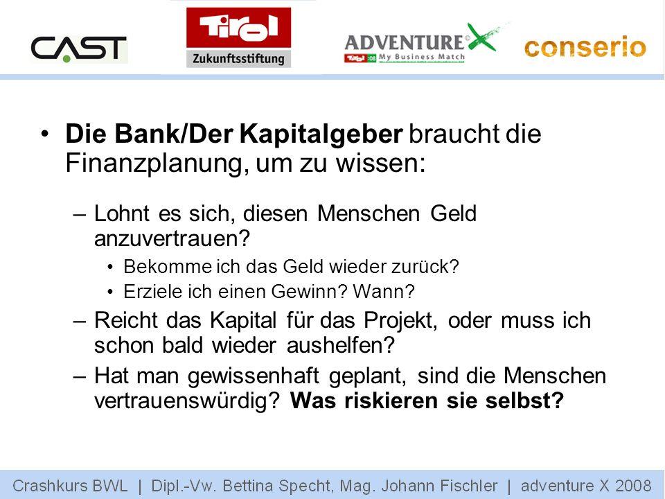 Die Bank/Der Kapitalgeber braucht die Finanzplanung, um zu wissen: