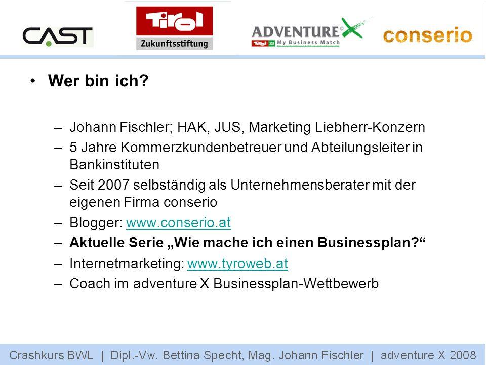 Wer bin ich Johann Fischler; HAK, JUS, Marketing Liebherr-Konzern