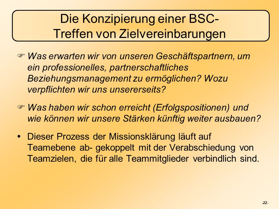Die Konzipierung einer BSC- Treffen von Zielvereinbarungen