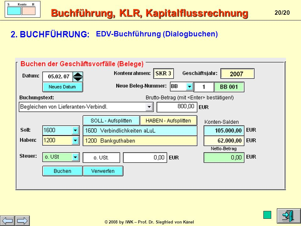 2. BUCHFÜHRUNG: EDV-Buchführung (Dialogbuchen)