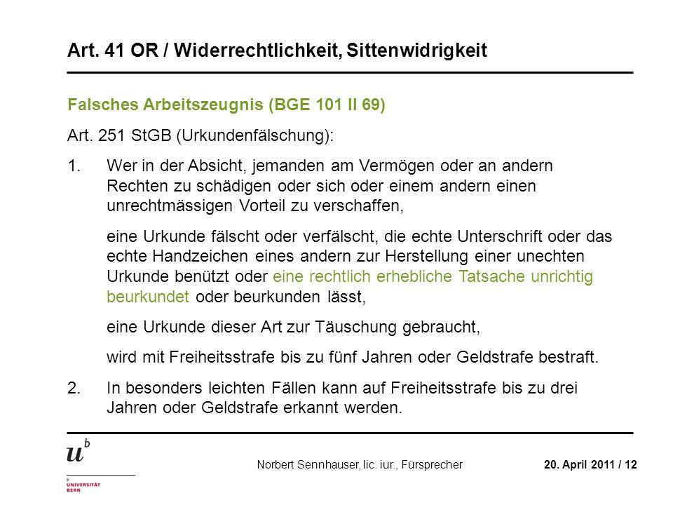 Falsches Arbeitszeugnis (BGE 101 II 69)
