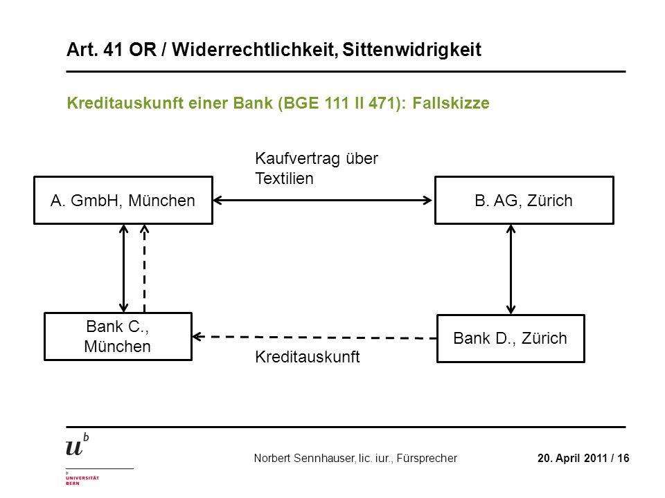 Kreditauskunft einer Bank (BGE 111 II 471): Fallskizze