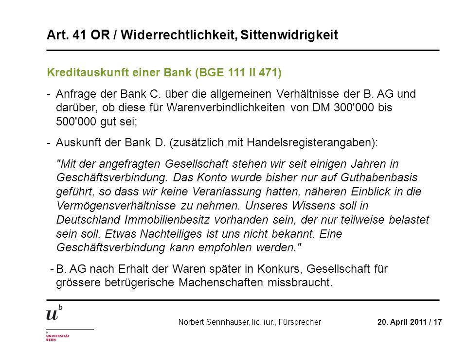 Kreditauskunft einer Bank (BGE 111 II 471)