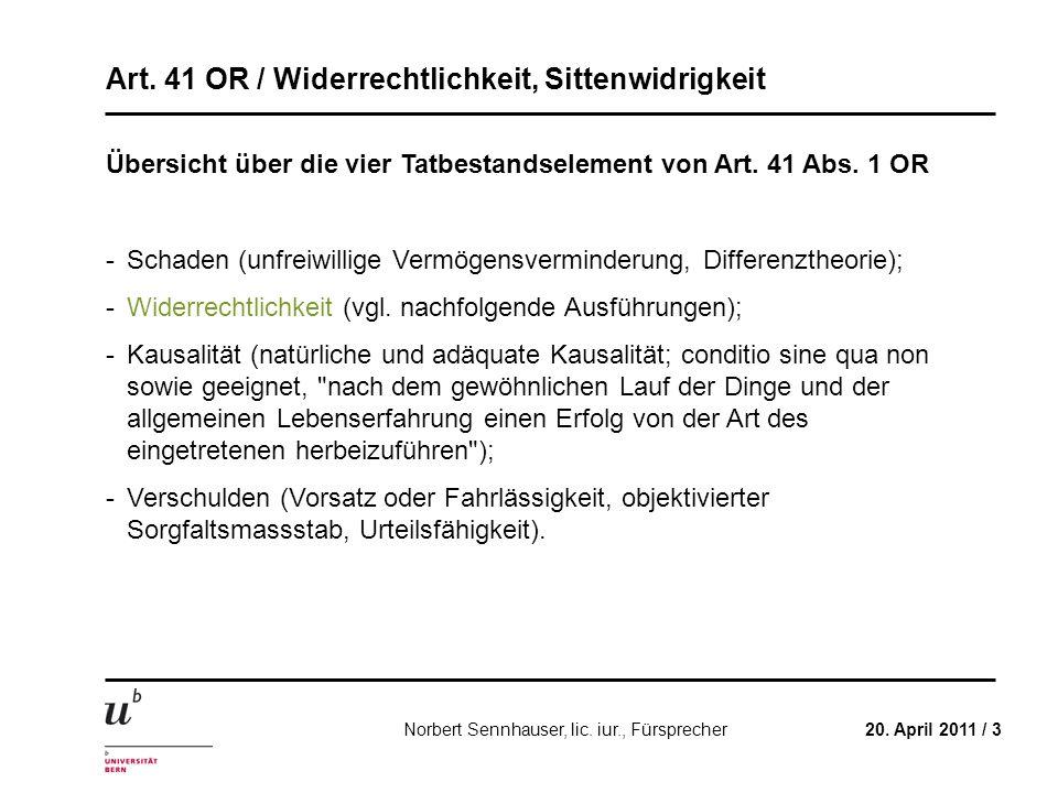 Übersicht über die vier Tatbestandselement von Art. 41 Abs. 1 OR