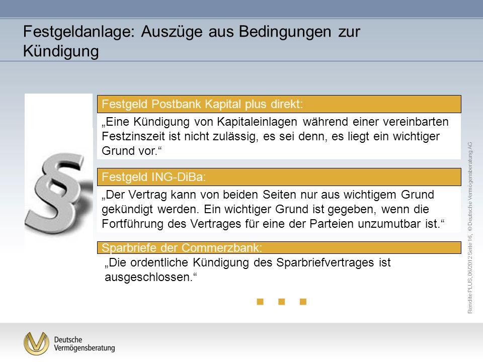… Festgeldanlage: Auszüge aus Bedingungen zur Kündigung