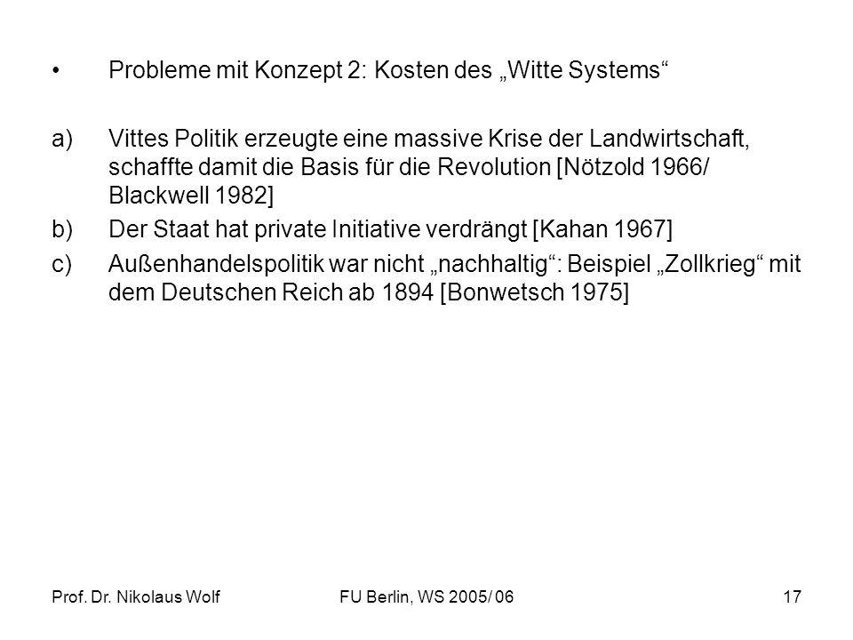 """Probleme mit Konzept 2: Kosten des """"Witte Systems"""