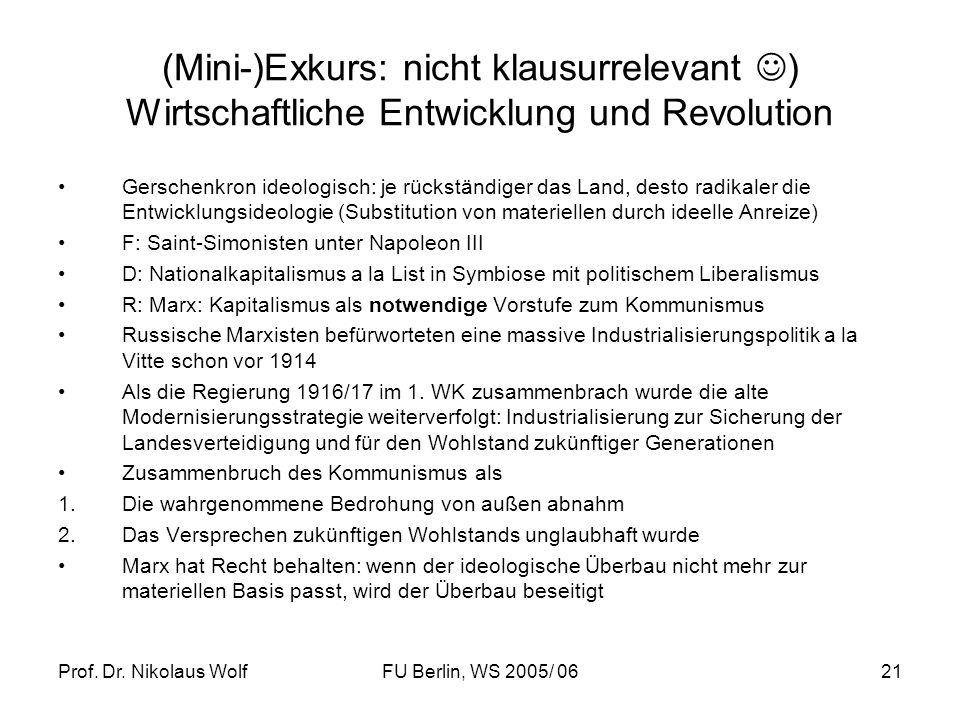 (Mini-)Exkurs: nicht klausurrelevant ) Wirtschaftliche Entwicklung und Revolution