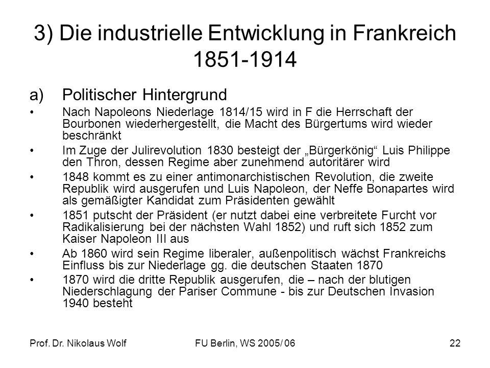 3) Die industrielle Entwicklung in Frankreich 1851-1914