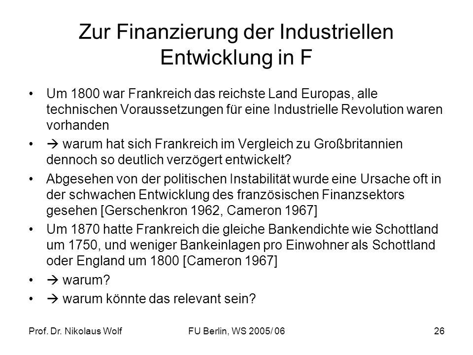 Zur Finanzierung der Industriellen Entwicklung in F