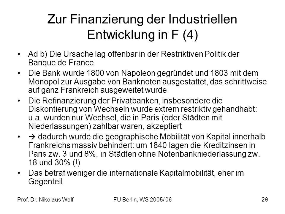 Zur Finanzierung der Industriellen Entwicklung in F (4)