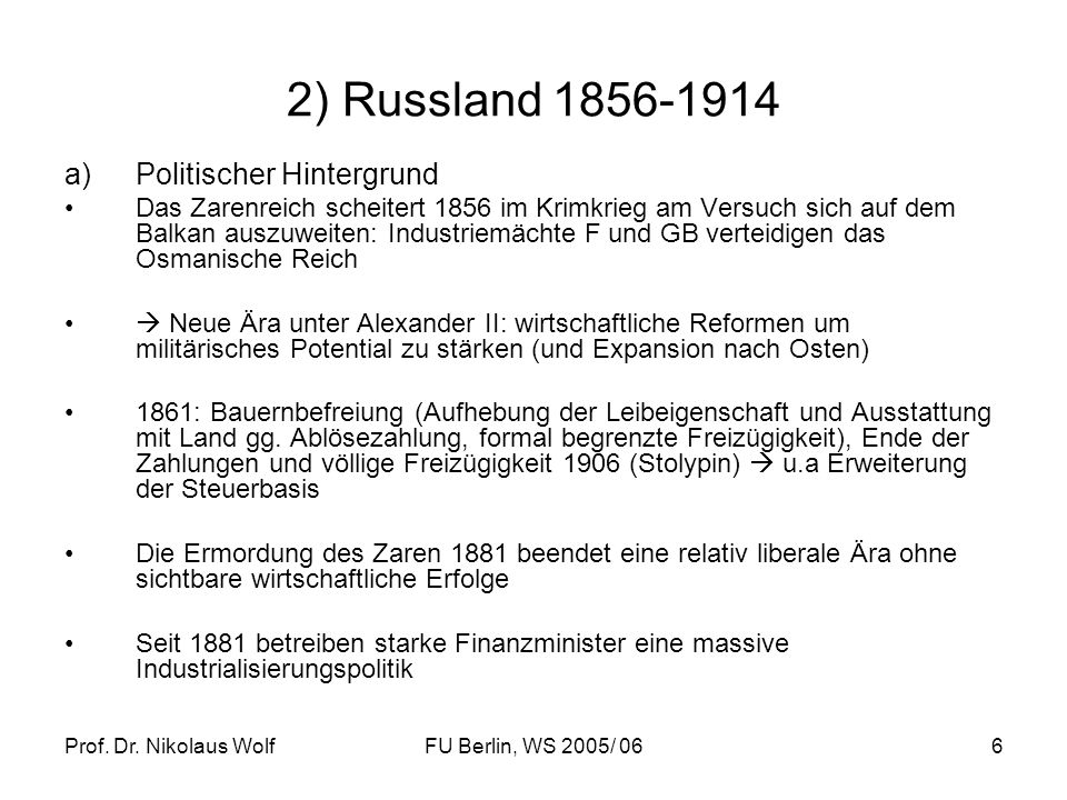 2) Russland 1856-1914 Politischer Hintergrund