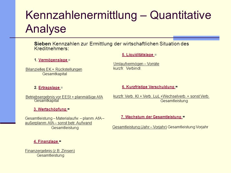 Kennzahlenermittlung – Quantitative Analyse