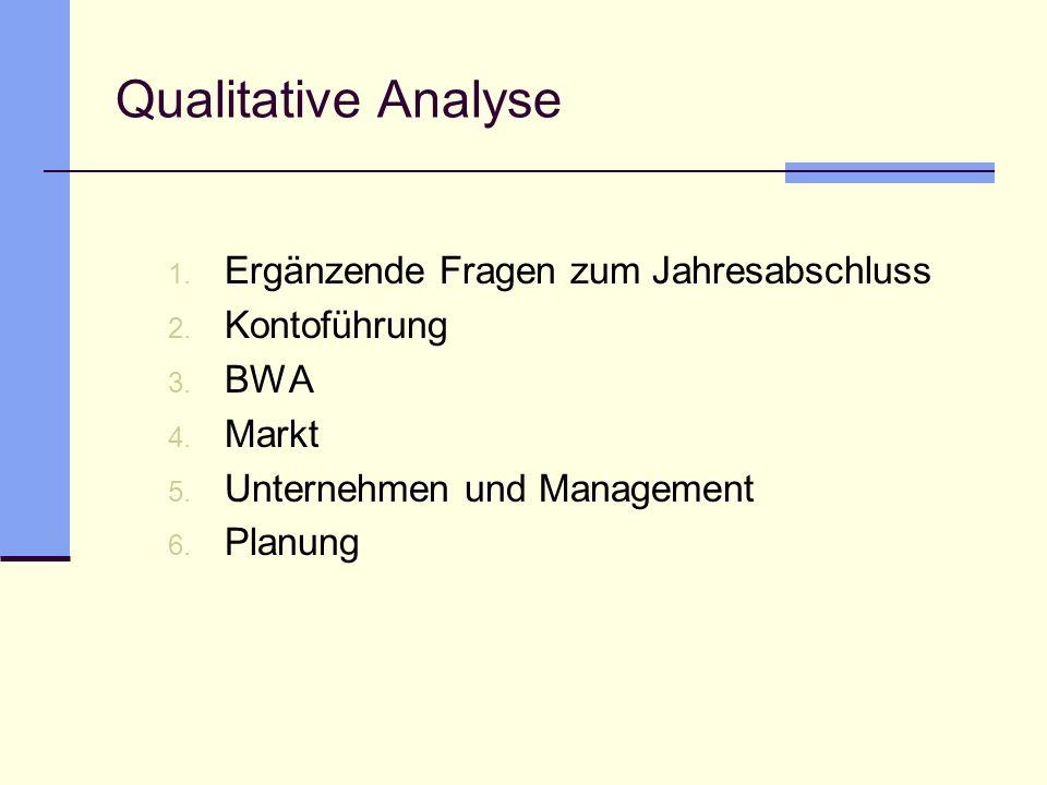 Qualitative Analyse Ergänzende Fragen zum Jahresabschluss Kontoführung