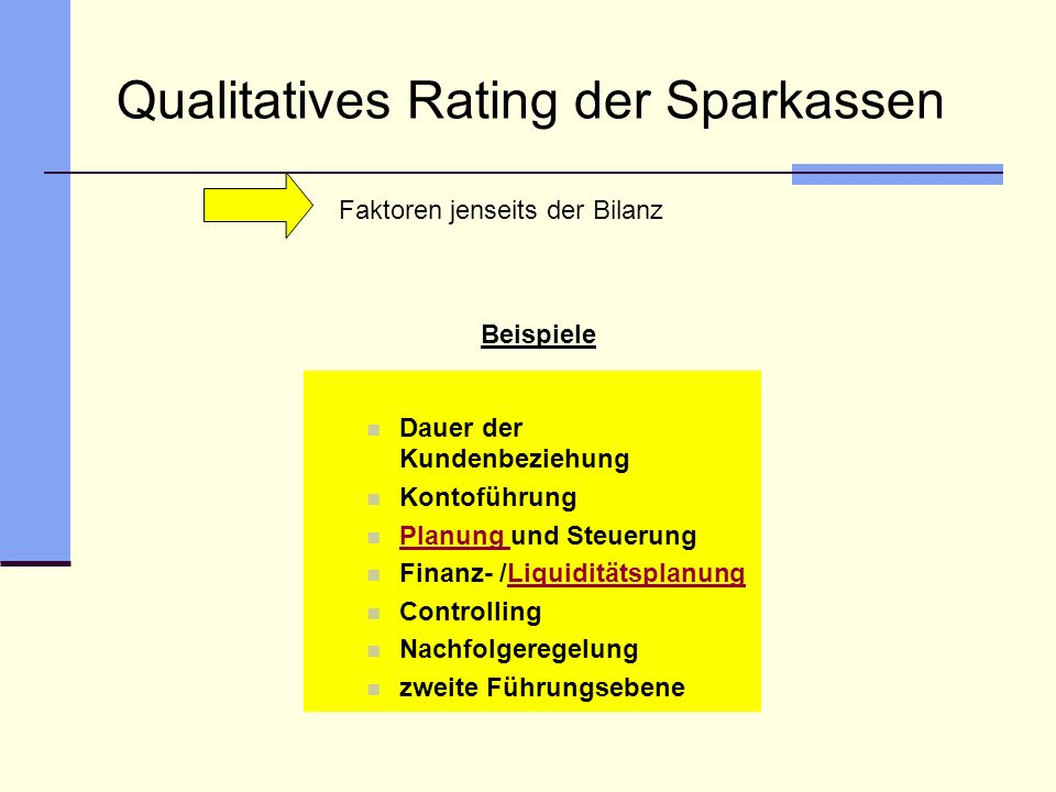 Qualitatives Rating der Sparkassen