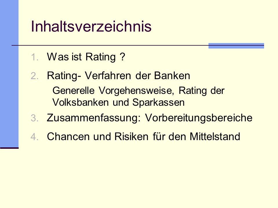Inhaltsverzeichnis Was ist Rating Rating- Verfahren der Banken