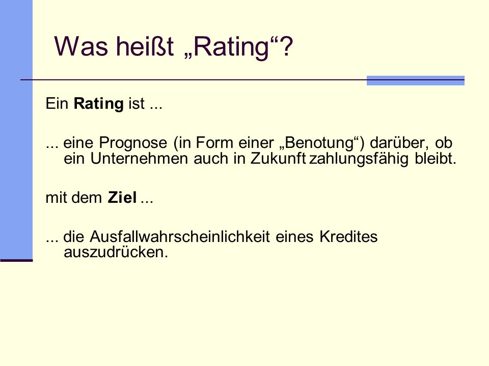 "Was heißt ""Rating Ein Rating ist ..."