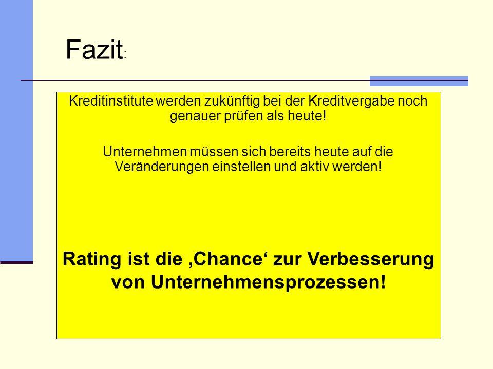 Rating ist die 'Chance' zur Verbesserung von Unternehmensprozessen!