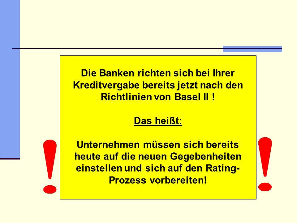 Die Banken richten sich bei Ihrer Kreditvergabe bereits jetzt nach den Richtlinien von Basel II !