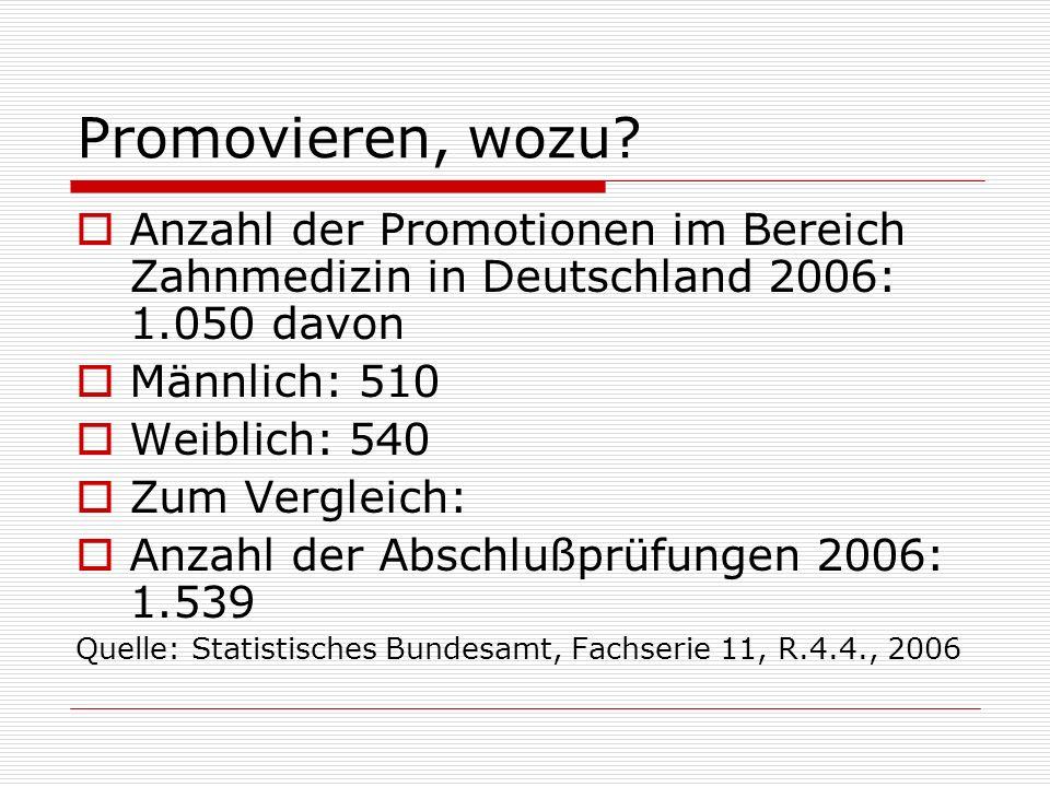 Promovieren, wozu Anzahl der Promotionen im Bereich Zahnmedizin in Deutschland 2006: 1.050 davon. Männlich: 510.