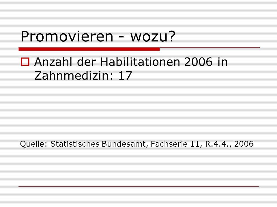 Promovieren - wozu Anzahl der Habilitationen 2006 in Zahnmedizin: 17