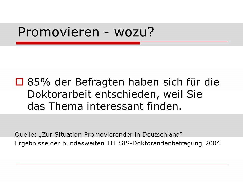 Promovieren - wozu 85% der Befragten haben sich für die Doktorarbeit entschieden, weil Sie das Thema interessant finden.