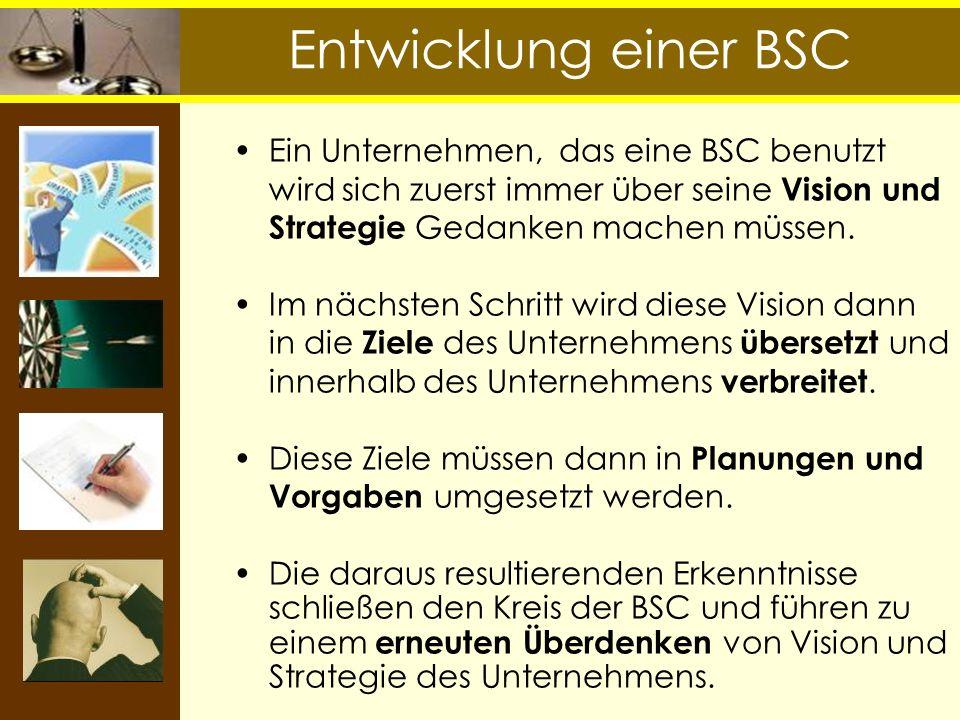 Entwicklung einer BSC Ein Unternehmen, das eine BSC benutzt wird sich zuerst immer über seine Vision und Strategie Gedanken machen müssen.