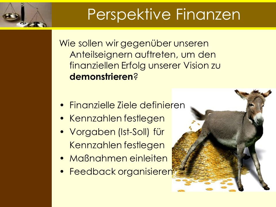Perspektive Finanzen Wie sollen wir gegenüber unseren Anteilseignern auftreten, um den finanziellen Erfolg unserer Vision zu demonstrieren