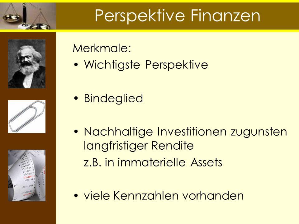 Perspektive Finanzen Merkmale: Wichtigste Perspektive Bindeglied