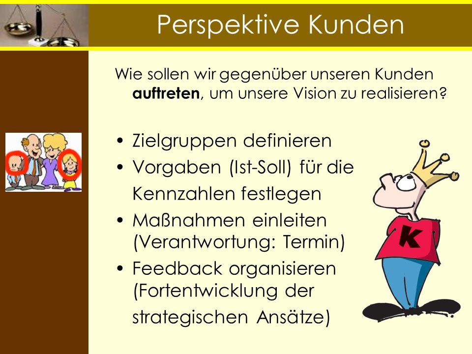 Perspektive Kunden Zielgruppen definieren Vorgaben (Ist-Soll) für die