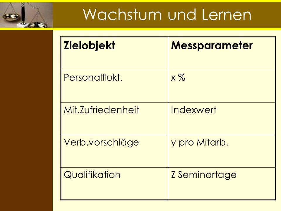 Wachstum und Lernen Zielobjekt Messparameter Personalflukt. x %
