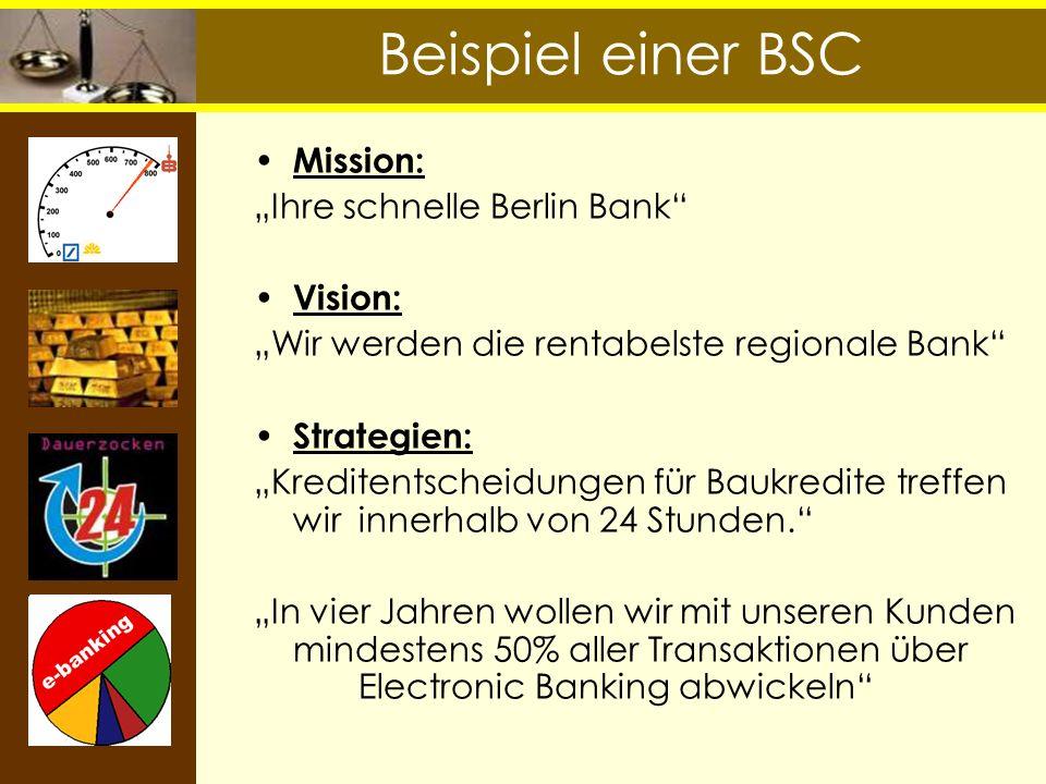 """Beispiel einer BSC Mission: """"Ihre schnelle Berlin Bank Vision:"""