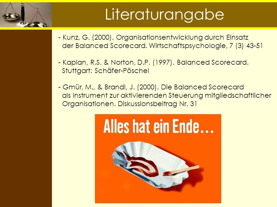 Literaturangabe Kunz, G. (2000). Organisationsentwicklung durch Einsatz. der Balanced Scorecard. Wirtschaftspsychologie, 7 (3) 43-51.
