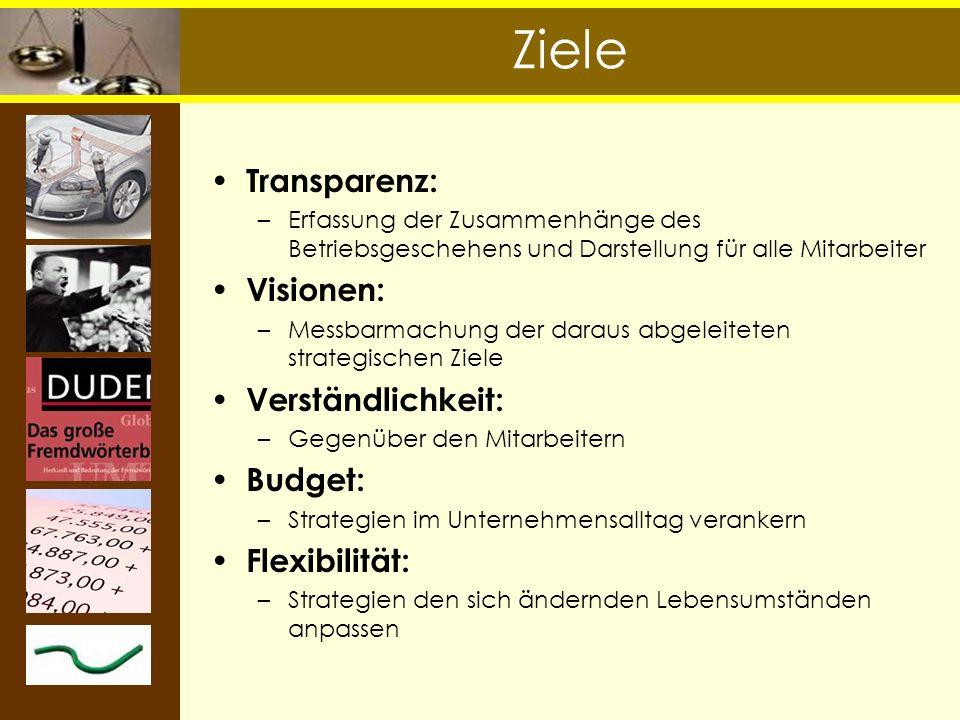 Ziele Transparenz: Visionen: Verständlichkeit: Budget: Flexibilität: