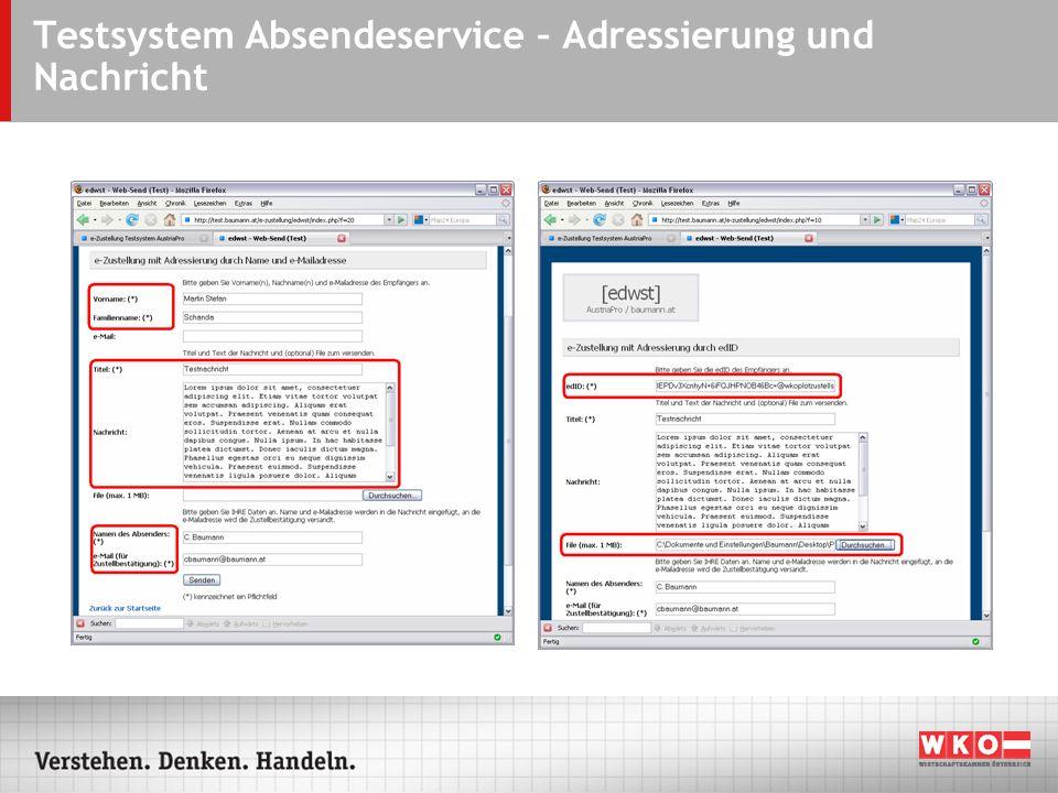 Testsystem Absendeservice – Adressierung und Nachricht