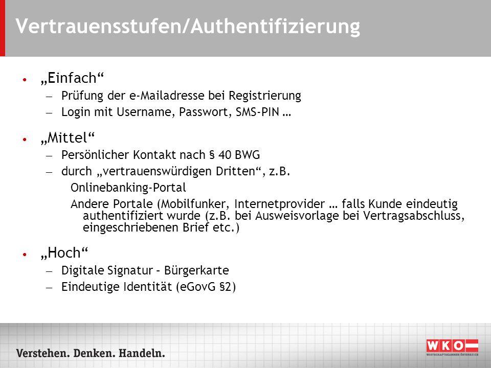 Vertrauensstufen/Authentifizierung