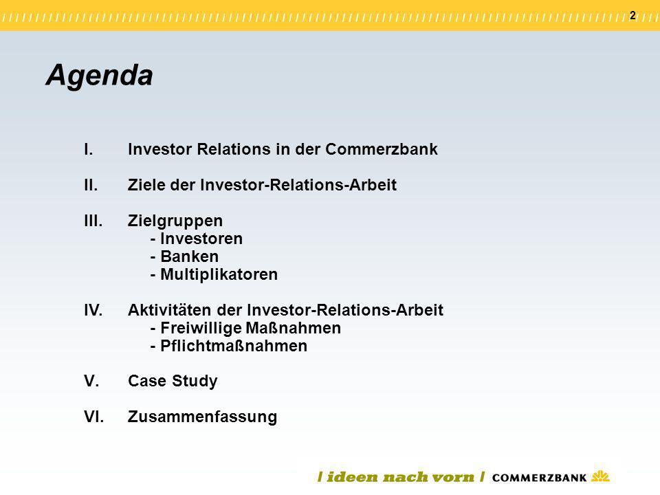 Agenda Investor Relations in der Commerzbank