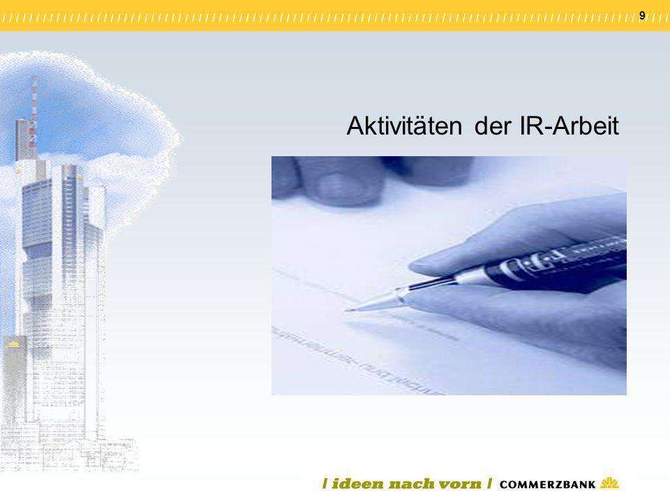 Aktivitäten der IR-Arbeit