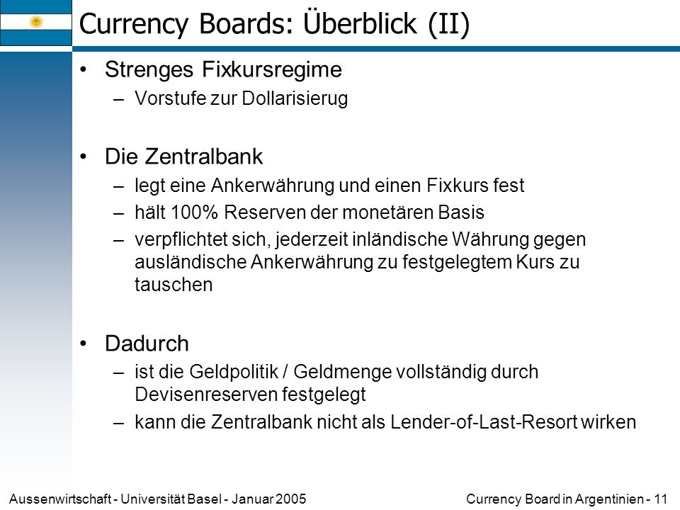Currency Boards: Überblick (II)