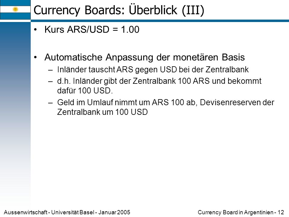 Currency Boards: Überblick (III)