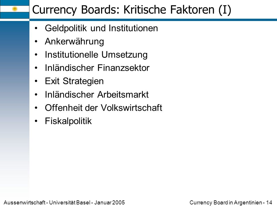 Currency Boards: Kritische Faktoren (I)