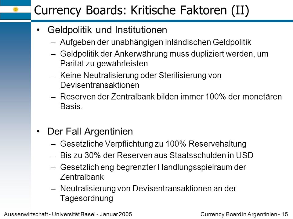 Currency Boards: Kritische Faktoren (II)