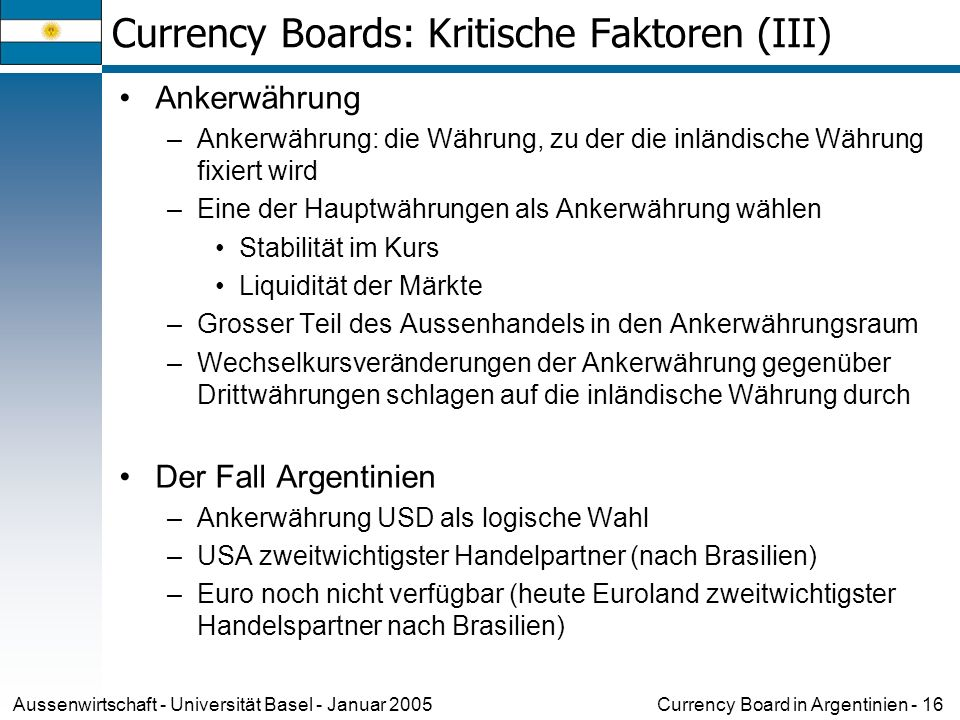 Currency Boards: Kritische Faktoren (III)
